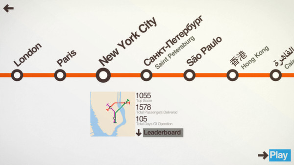 Mini Metro's Map selection