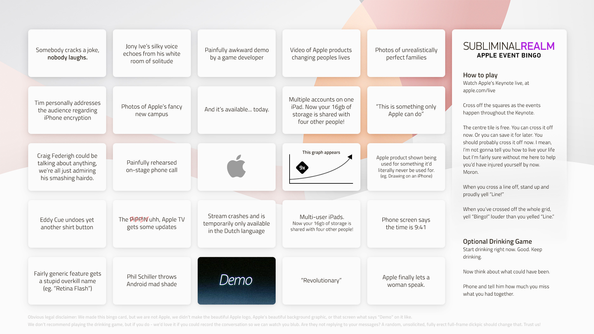 SubliminalRealm's Apple Event Bingo Card for the Apple Live Event, March 21, 2016. Click to enlarge.