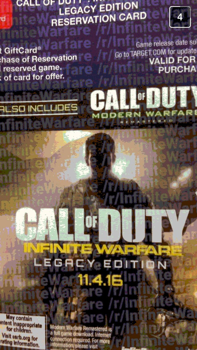 Leaked Snapchat by a Target employee of the Call of Duty Infinite Warfare cover